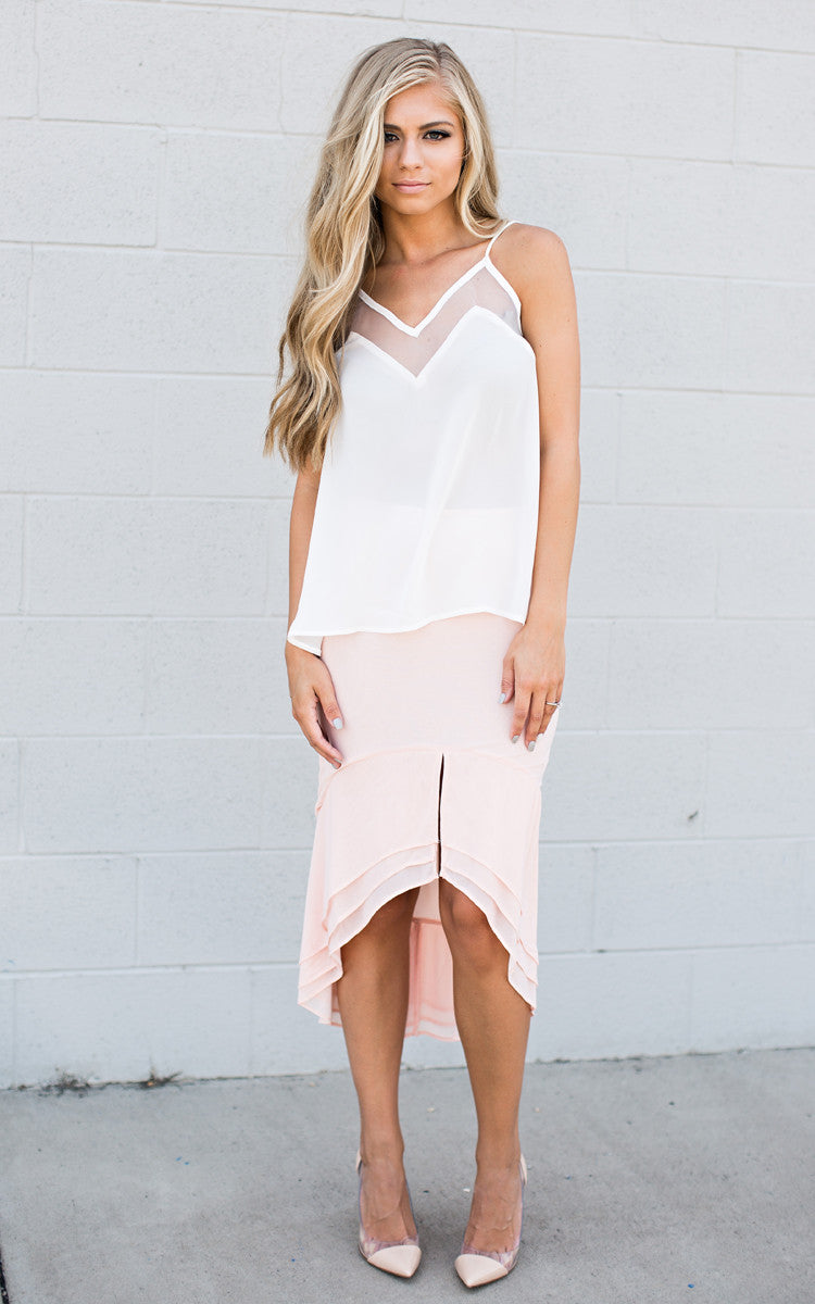 Blush Knee Length Skirt