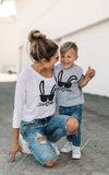Kids Bunny Face Tee - Grey