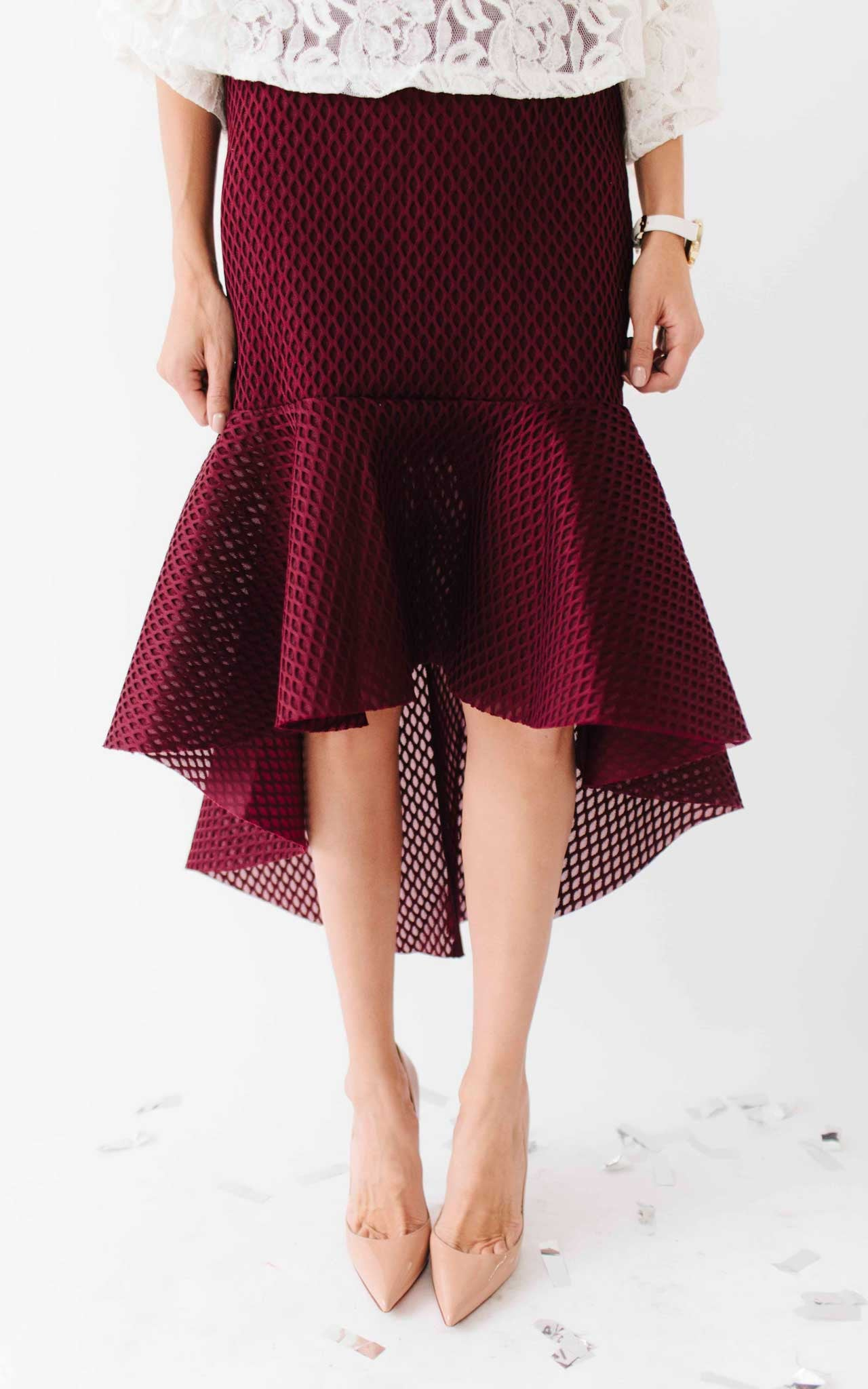 Burgundy Ruffle High-Low Skirt