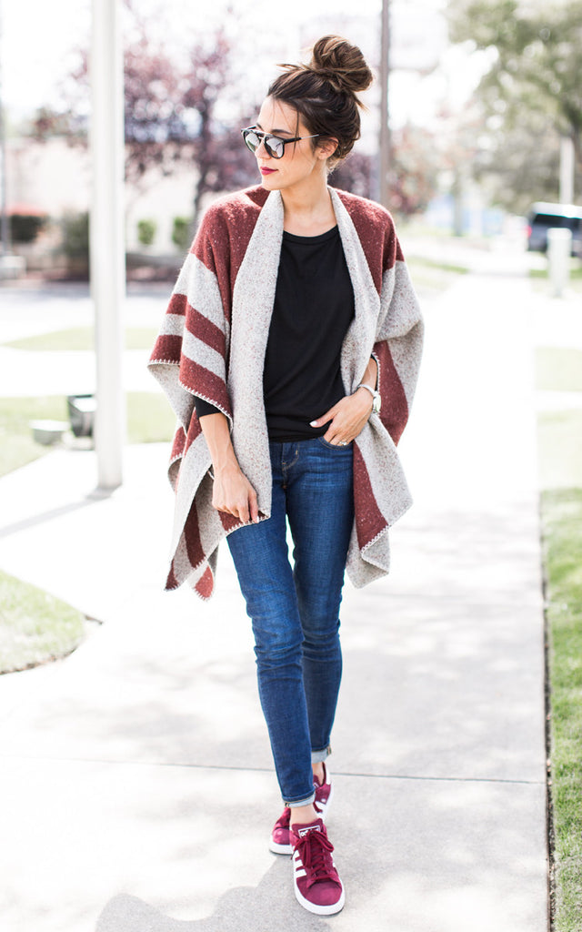 Burgundy Stripe Cape
