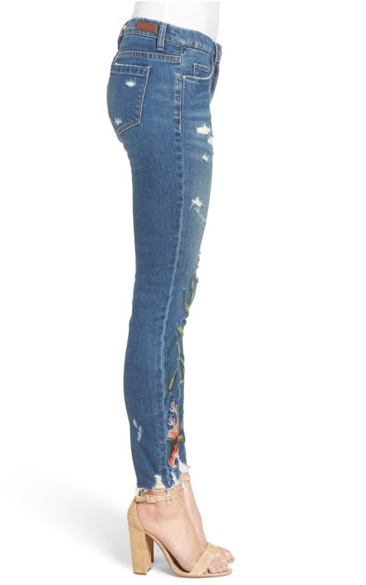 Embroidered Distressed Denim