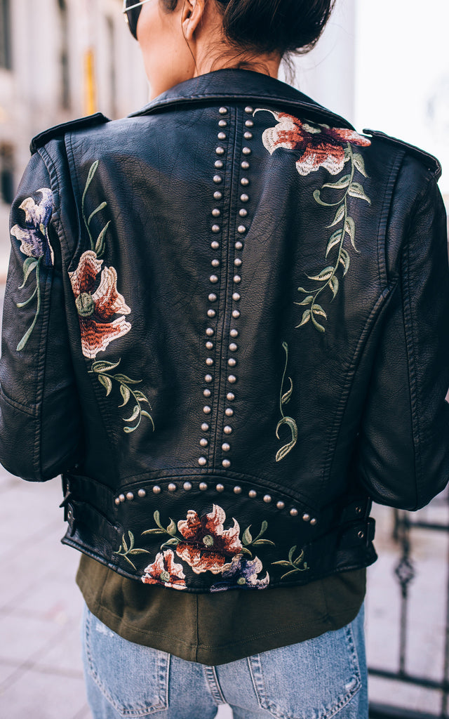 Embroidered Leather Jacket U2013 Ily Couture