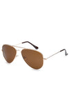 Ferri Rimmed Aviator Sunglasses - Brown Lense Gold Frame