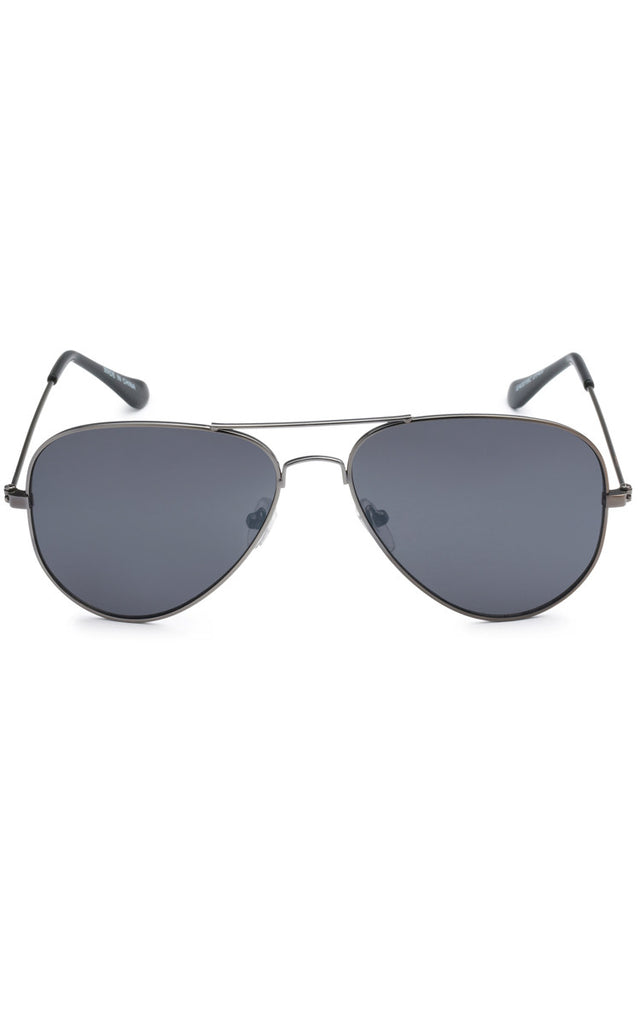 Ferri Rimmed Aviator Sunglasses - Grey Lenses Black Frame
