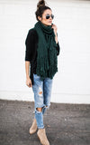 Hunter Green Long Tassel Scarf
