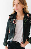 Girls Leather Embroidered Jacket