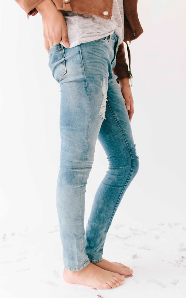 Girls Distressed Light Denim