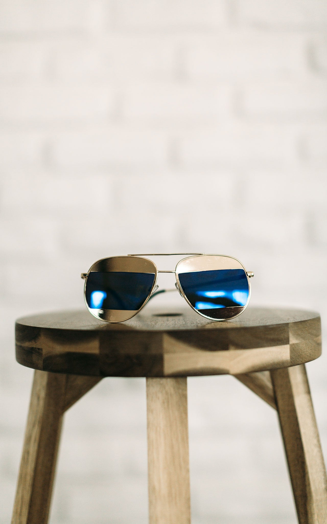 Gold & Blue Oversized Aviator Sunglasses