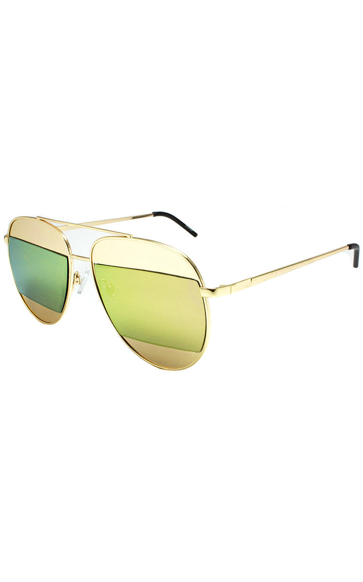 Gold Rainbow Oversized Aviator Sunglasses