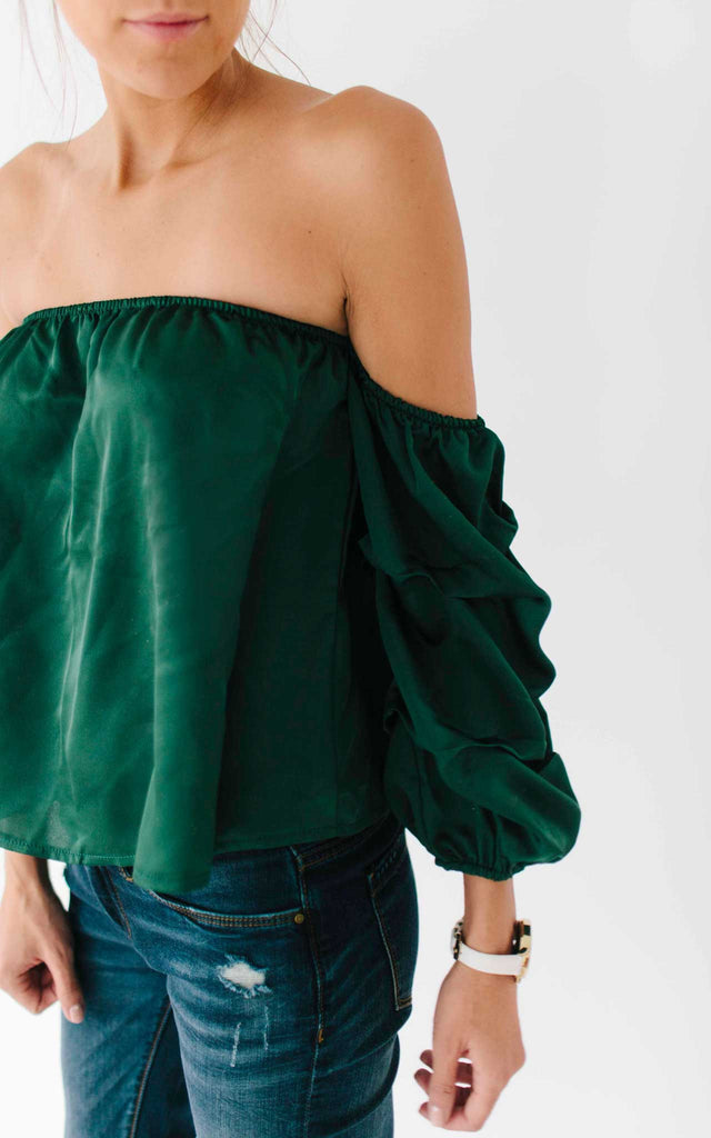 Green Off the Shoulder Gathered Sleeve Top