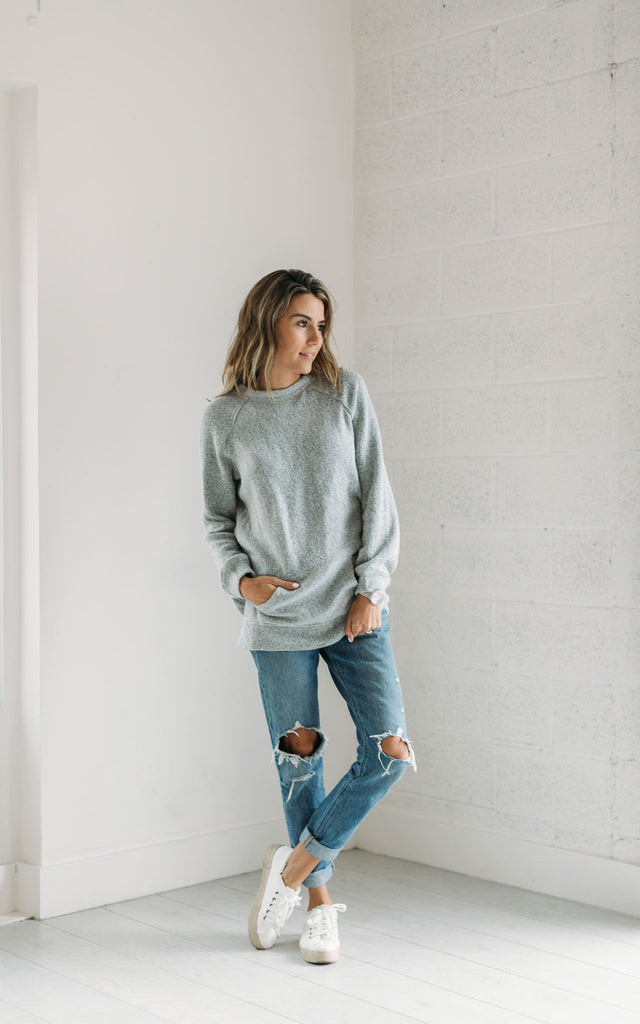 Grey Cross Pocket Back Sweater