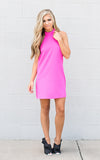 High Neck Midi Dress - Hot Pink