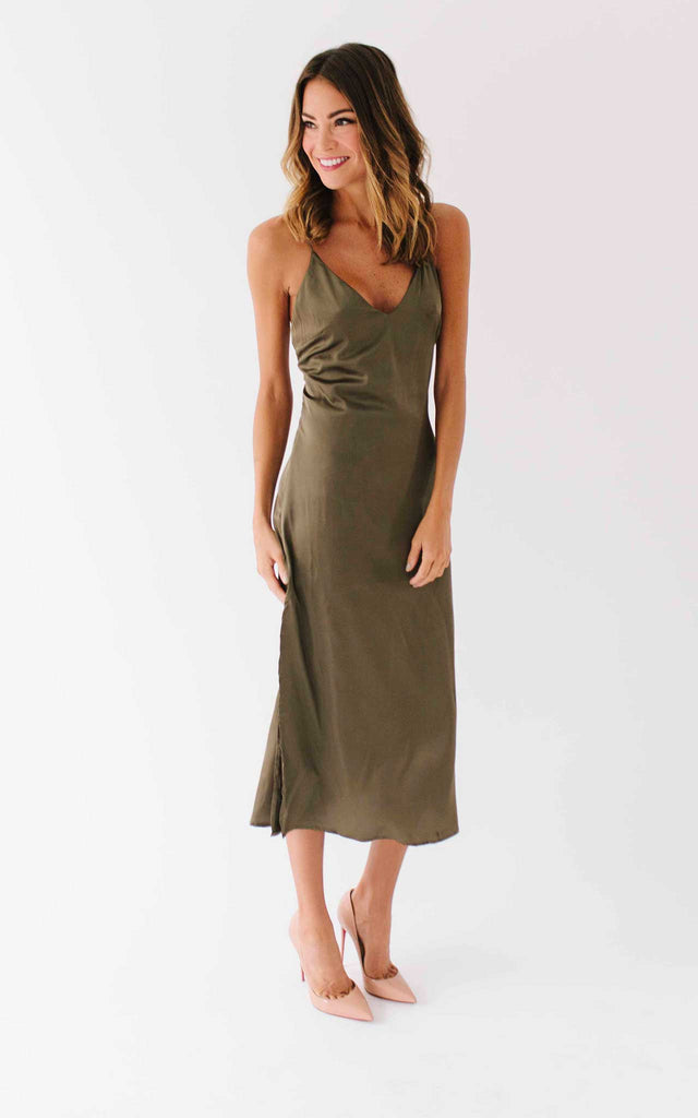 Olive Lace Up Slip Dress