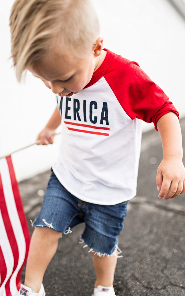 Kids White America Baseball Tee