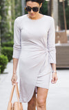 Light Grey Knot Knit Dress