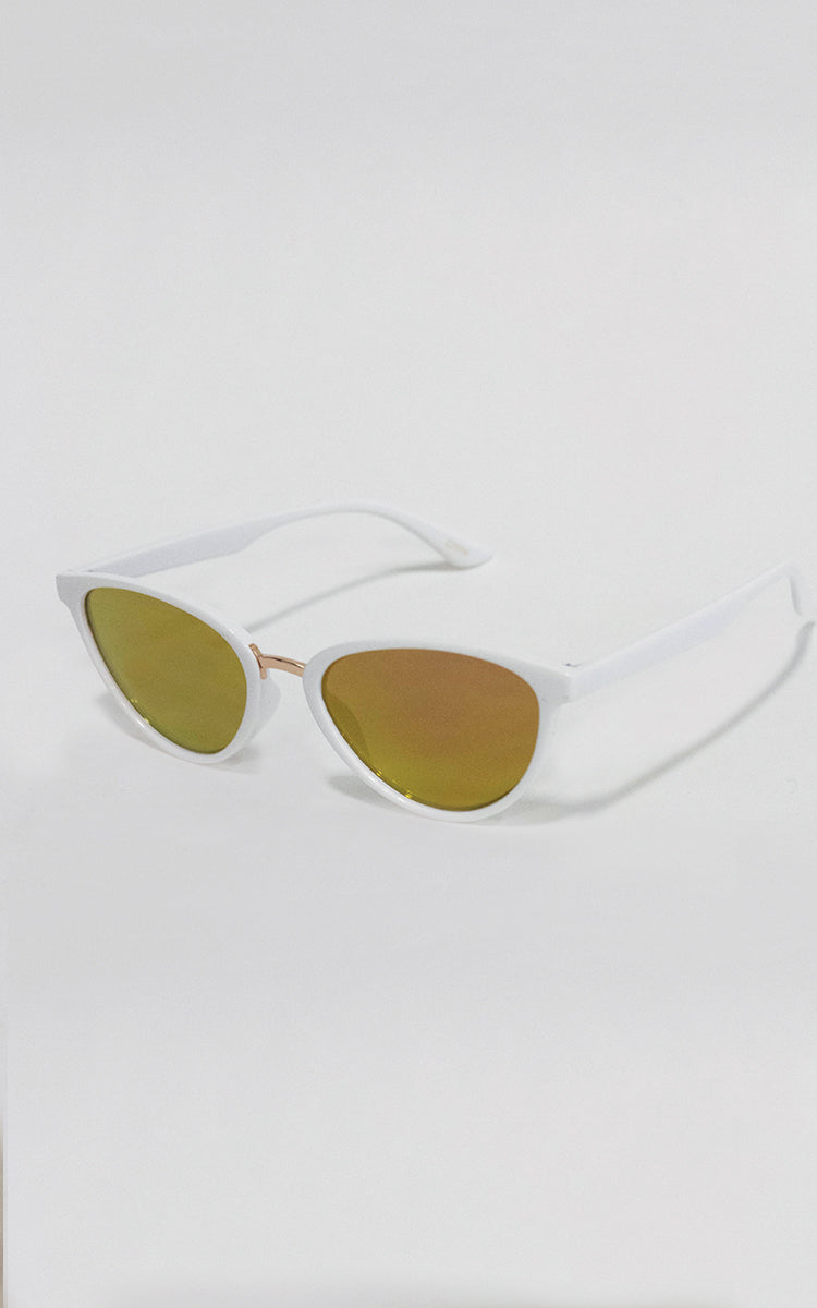 White Rose Gold Lense Minx Sunglasses