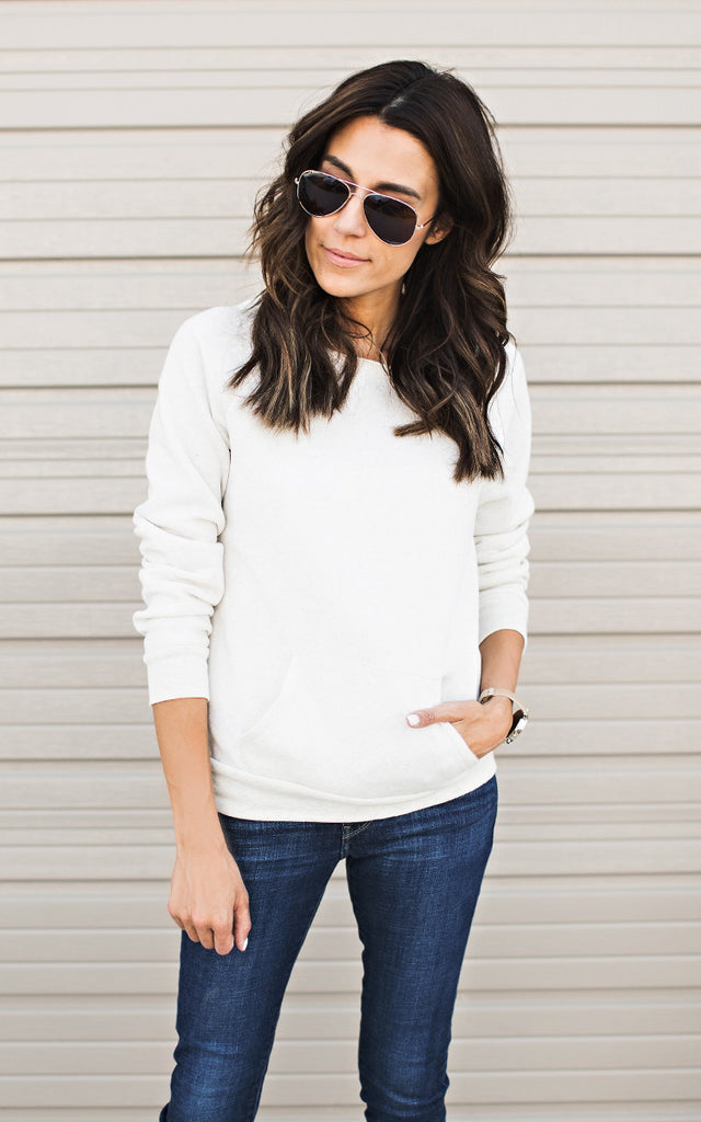 Wide Neck Oatmeal Sweatshirt
