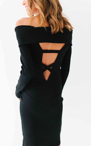 Black Off the Shoulder Peek-a-Boo Back Sweater Dress (small)
