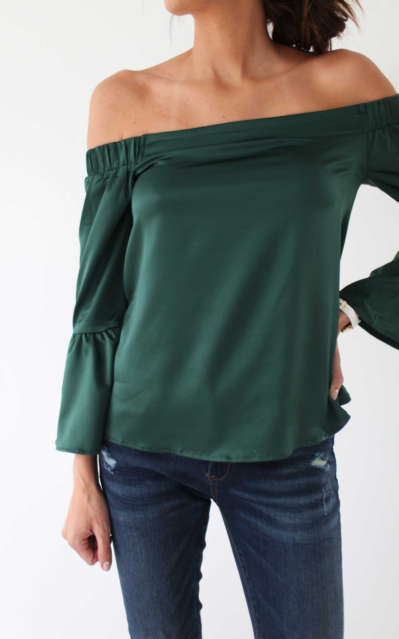 Emerald Off The Shoulder Ruffle Sleeve Top