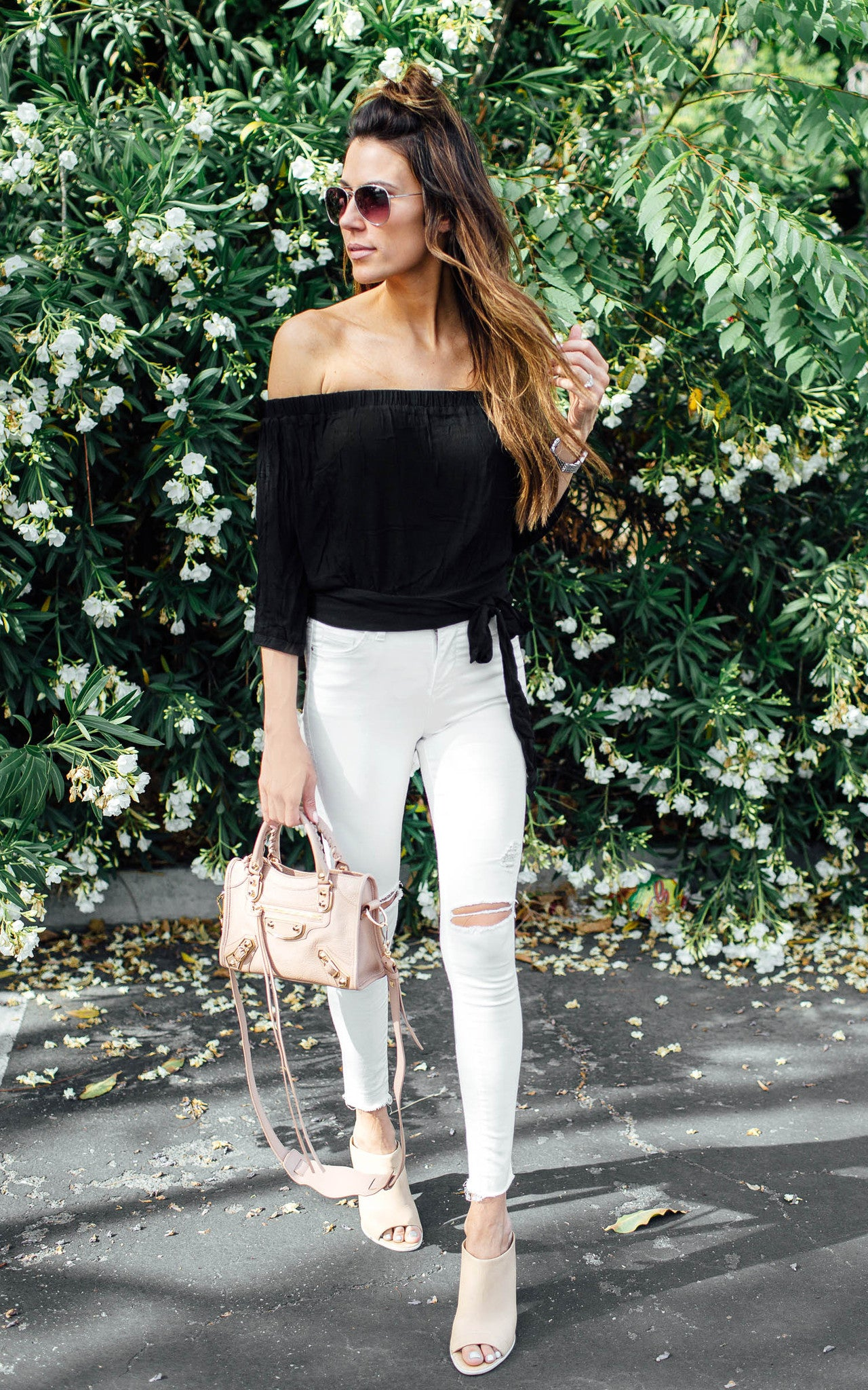 Black Off the Shoulder Tie Top
