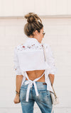 Embroidered Open Back Top