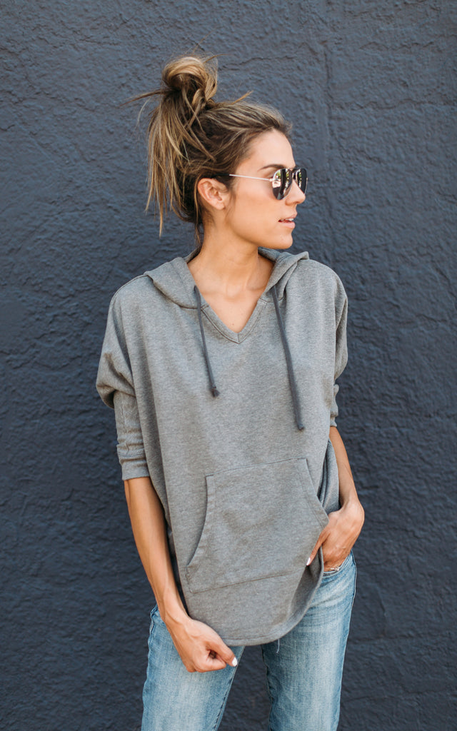 Grey Hooded Poncho