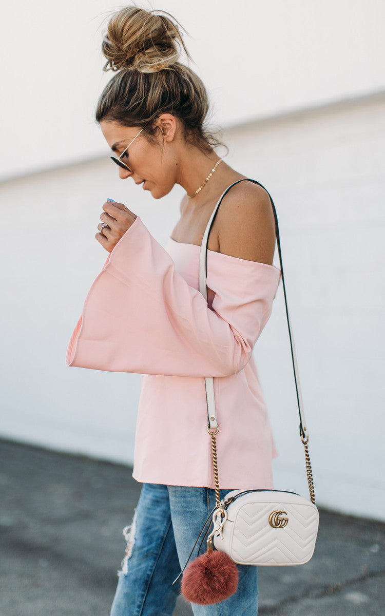 Pink Bell Sleeve Off The Shoulder