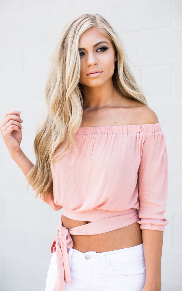 Blush Off the Shoulder Tie Top