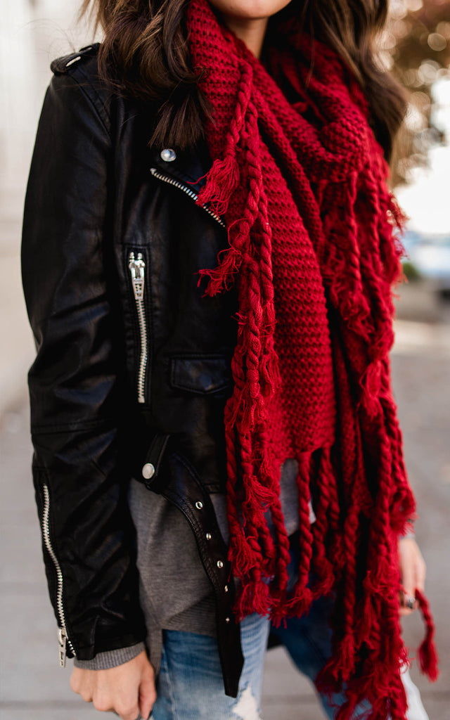 Red Long Tassel Scarf