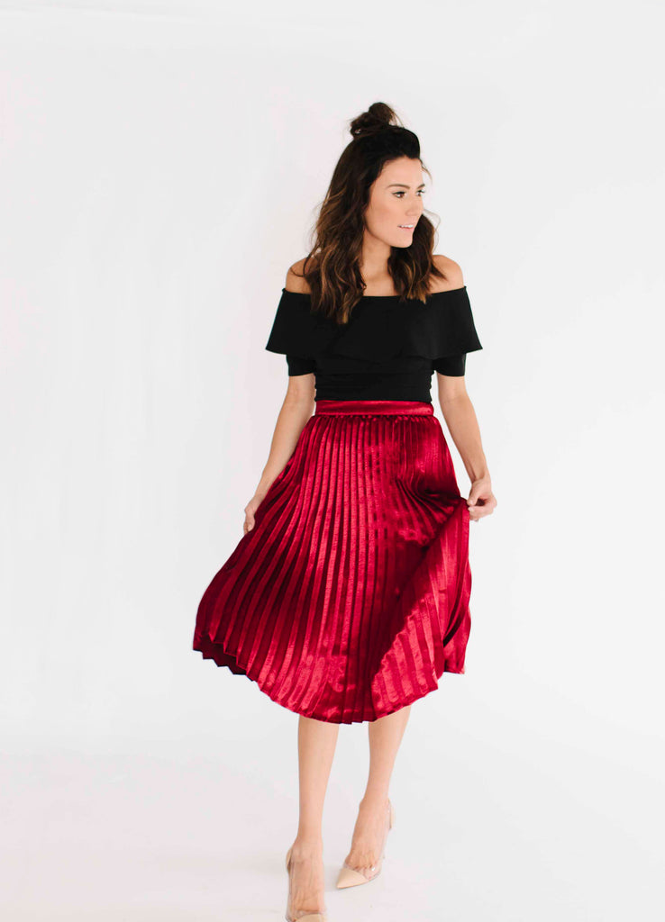 Red Metallic Pleated Skirt