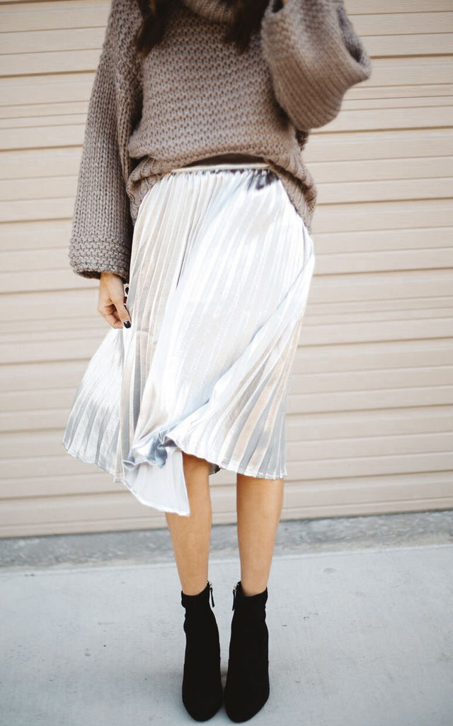 Silver Pleated Skirt