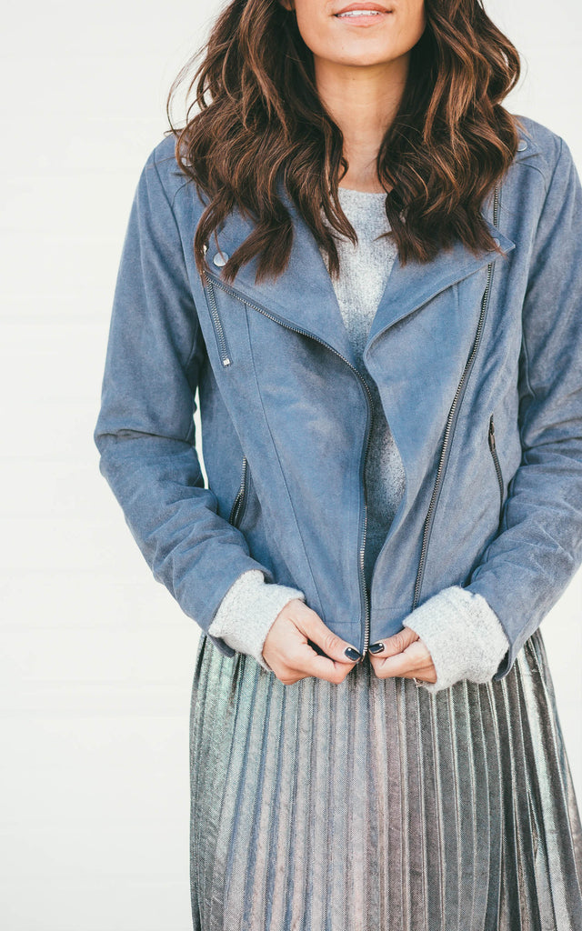 Suede Moto Jacket- French Blue