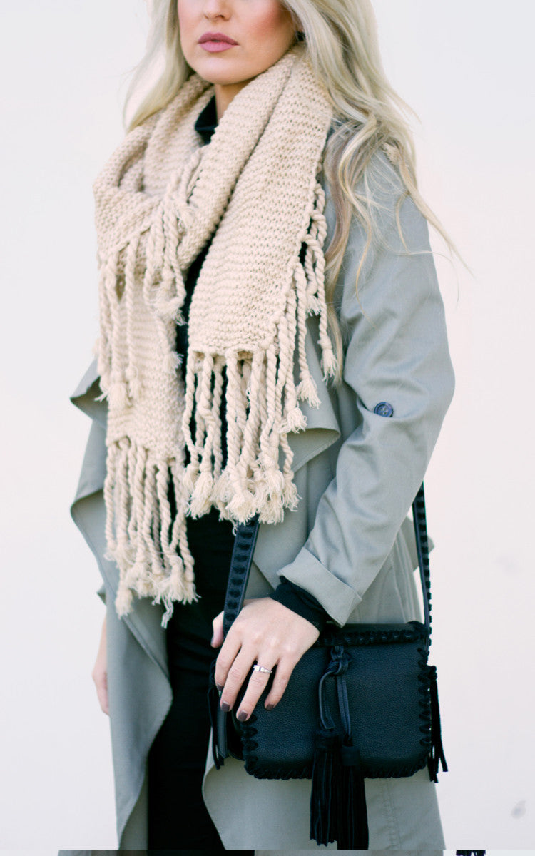Tan Long Tassel Scarf