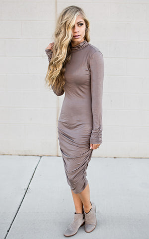 Turtle Neck Mocha Dress