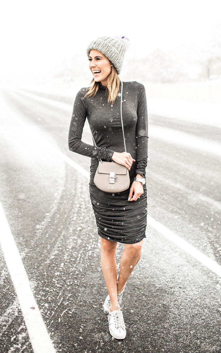 Turtle Neck Charcoal Dress