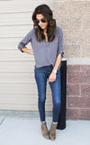 Grey V Neck Top