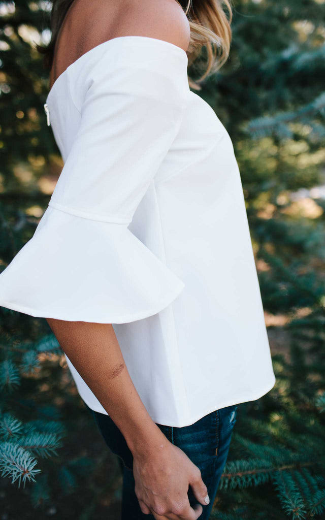 White Flutter Sleeve Off the Shoulder Top