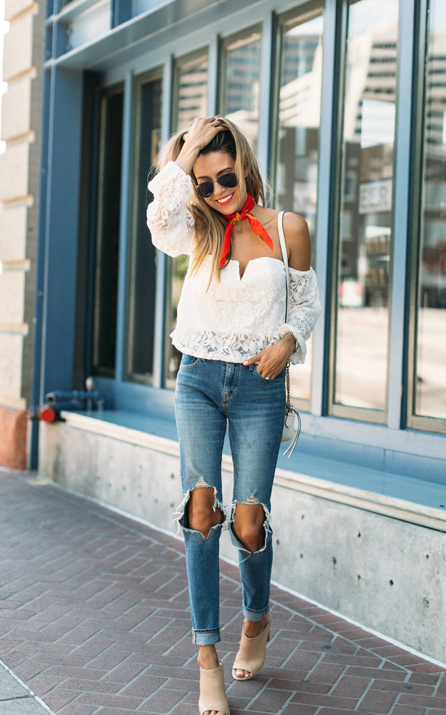 White Lace Off-the-Shoulder Crop Top
