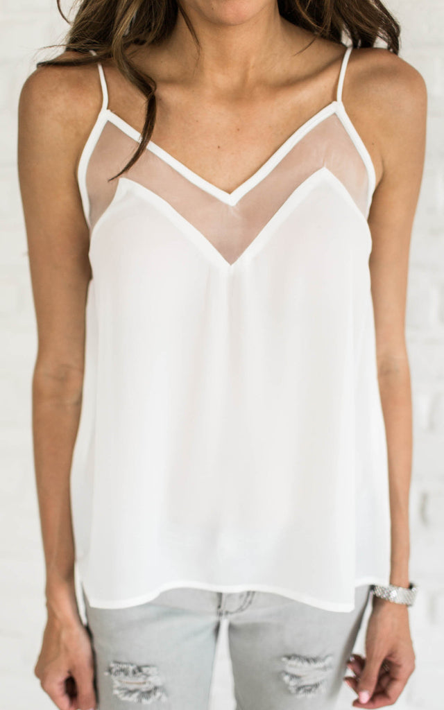 Illusion Thin Strap Top - White