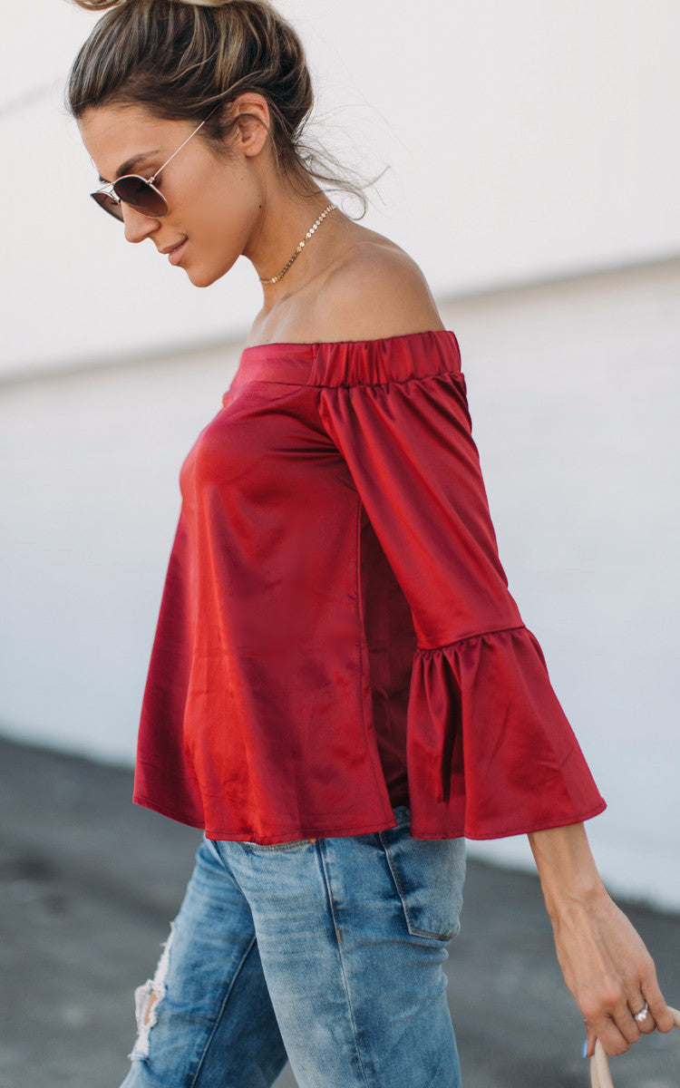 Wine Off the Shoulder Top Ruffle Top