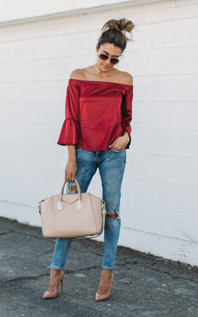Red Off the Shoulder Ruffle Top