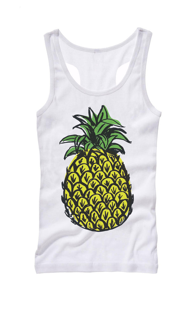 Pineapple Solo Racer Tank - White