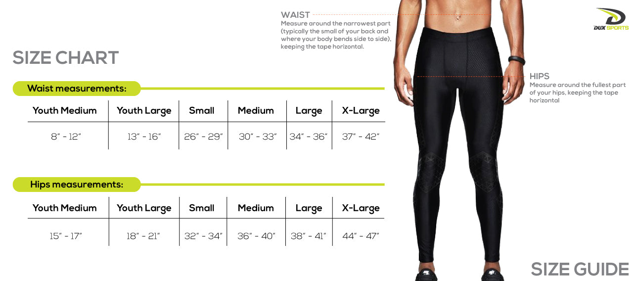 Dux Sports Compression Pants Size Chart