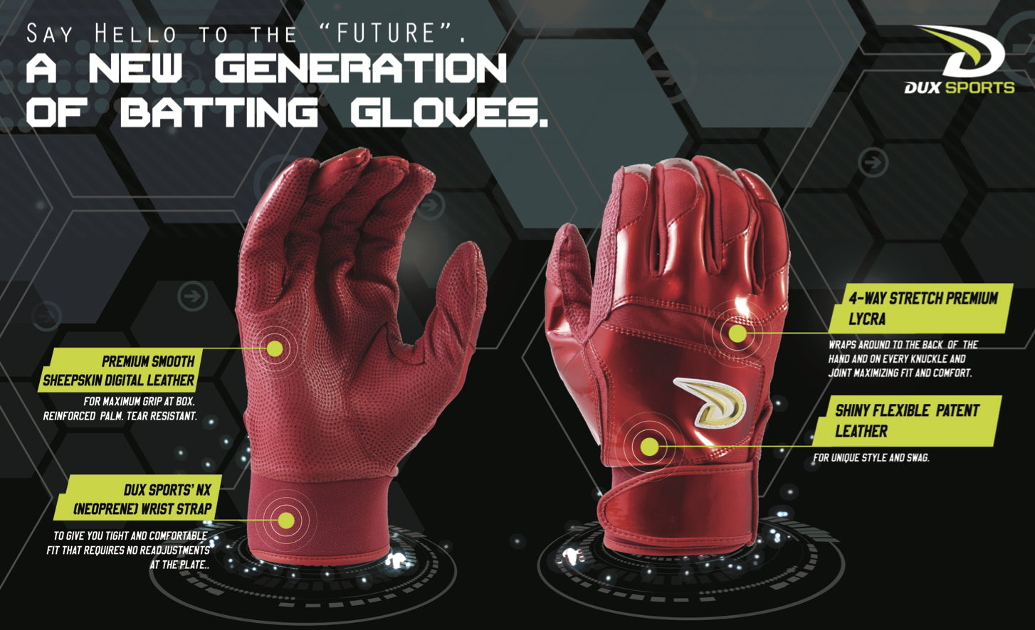 Dux Sports Best Batting Gloves for baseball Future collection