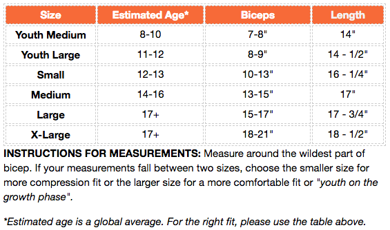 Dux sports compression arm sleeve size chart