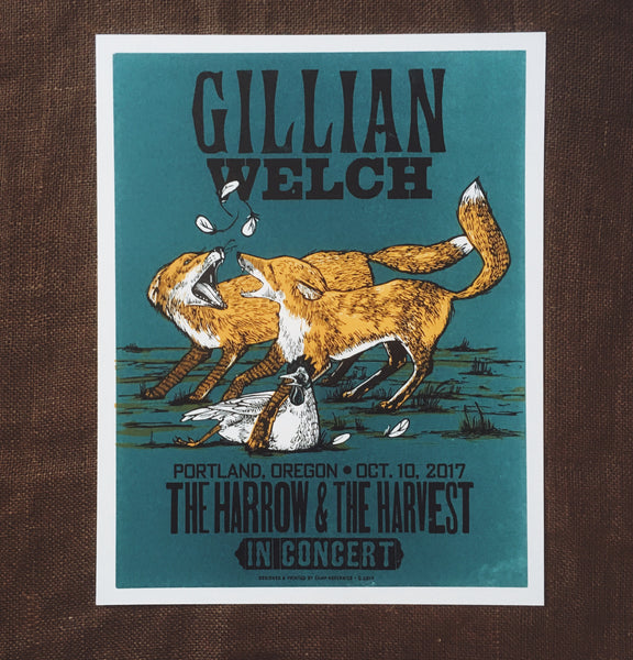 Gillian Welch 10/10/17 Portland Harrow In Concert Poster