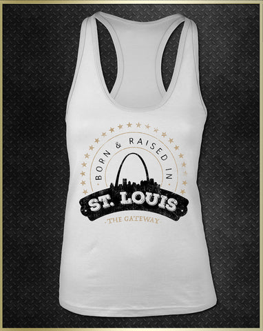 """St. Louis Born"" Women's Razorback Tank Top"