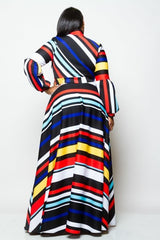 Bow Striped Dress Curvy7