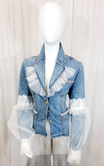 House of Seven Denim Lace Pearl Blazer