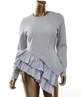 Ruffled High-Low Knit Top